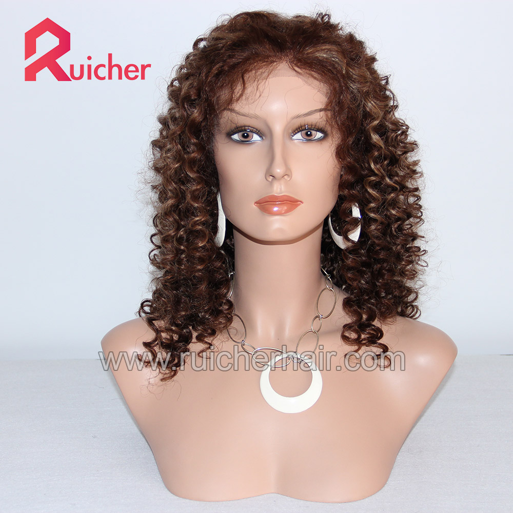 New Style 100% Indian Remy Human Spiral Curl 4# Highlight 27# Lace Front Wig