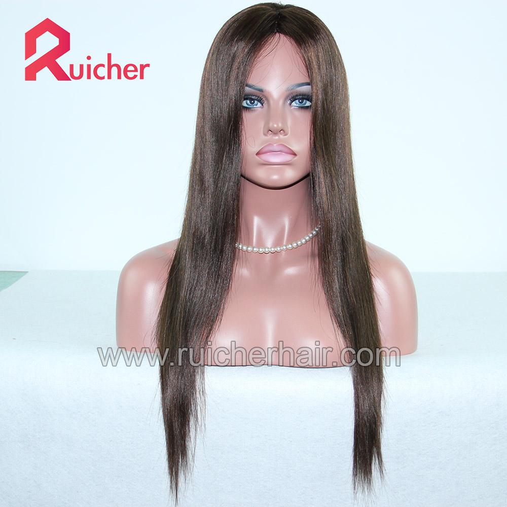 Wholesale Mongolian hair lace wigs human hair,silk base human hair wigs for white women