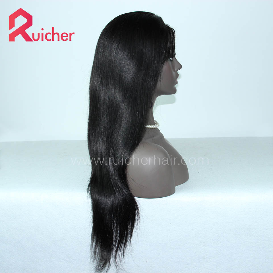 Chinese Virgin Hair Full Lace Wigs 1B# Color Natural Straight