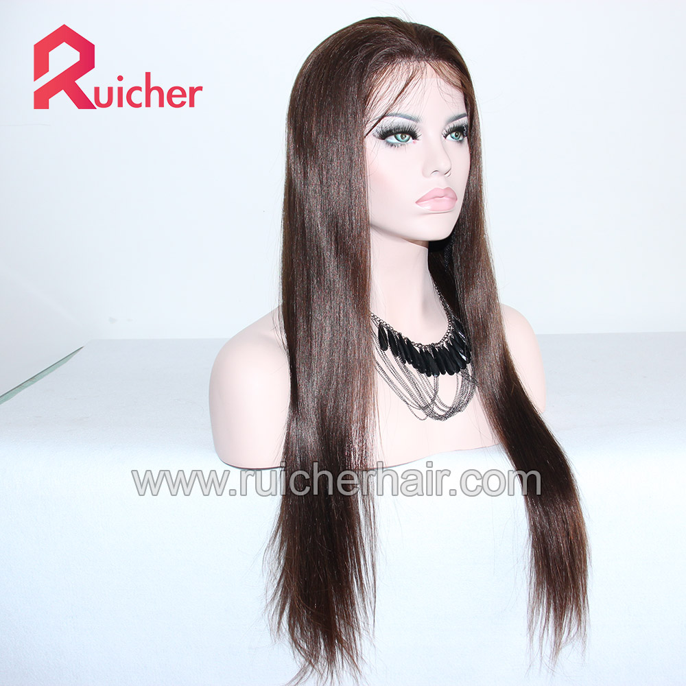 European Human Wig Straight 3# Mix 4# Lace  Wig Human Hair Wigs Pre-Plucked With Baby Hair For Women
