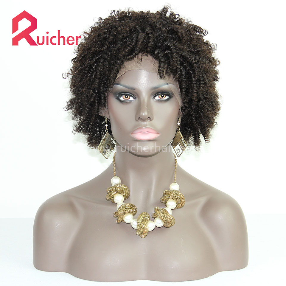 Afro Curl Human Hair Wigs With Baby Hair Full Lace Wigs Brazilian Virgin Hair