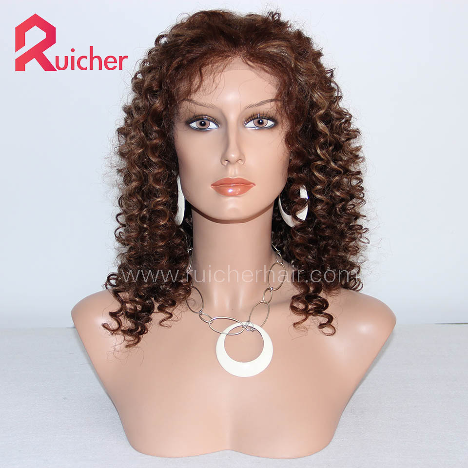 4# highlight 27# Color Full Lace wigs Swiss Indian Remy Hair wig Pre Plucked