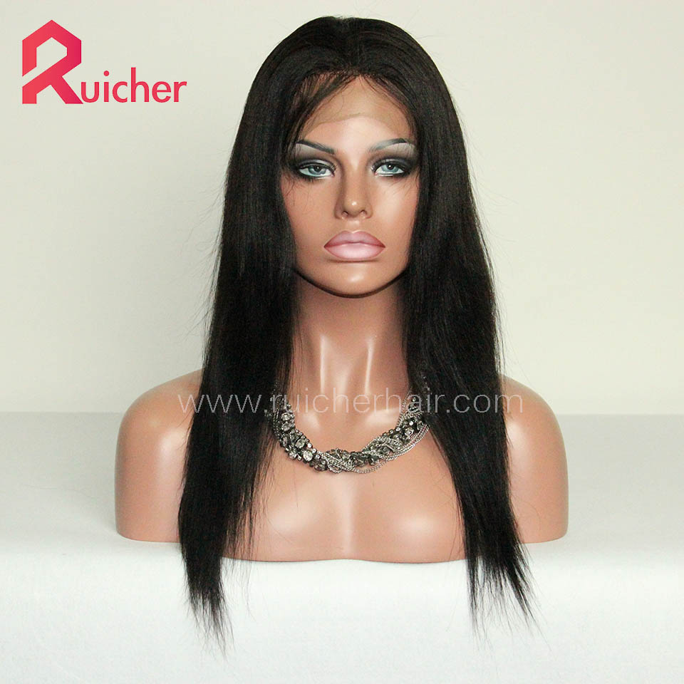 Lace Human Hair Wigs Yaki Wig Pre Plucked Wig With Baby Hair Indian Remy