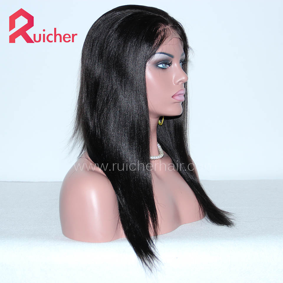 Yaki Full Lace Human Hair Wigs For Black Women Indian Remy Hair
