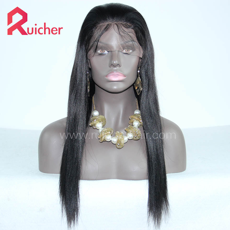 Yaki Lace Front Human Hair Wigs With Baby Hair Brazilian Virgin Hair