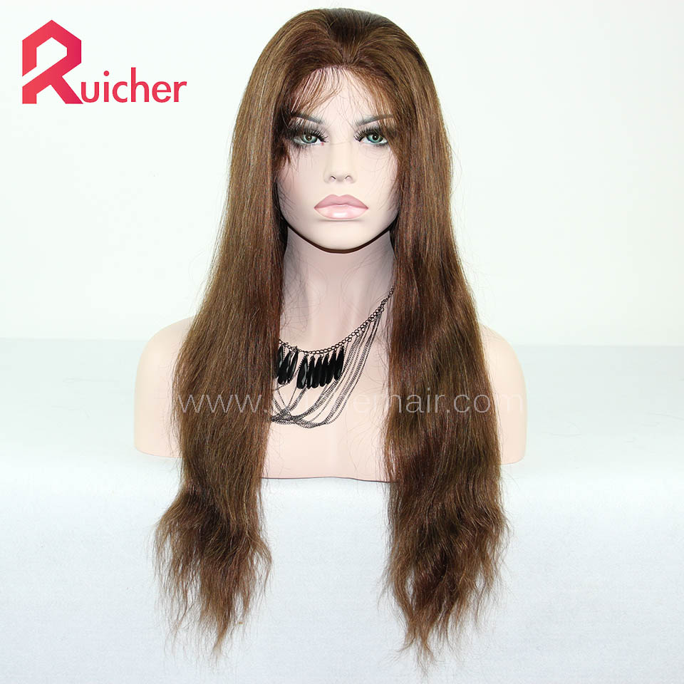 Indian Remy Hair Wigs Pre Plucked with Baby Hair Highlight Color