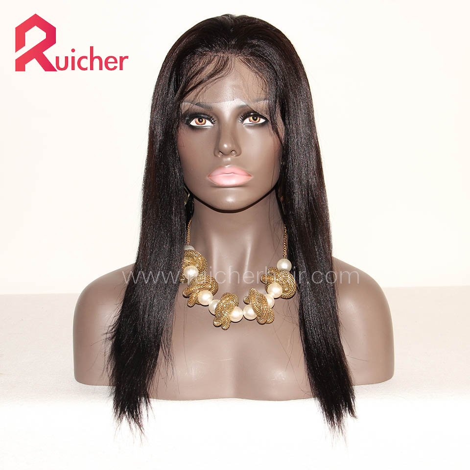 Lace Human Hair Wigs Indian Remy Hair Yaki Full Lace Wigs