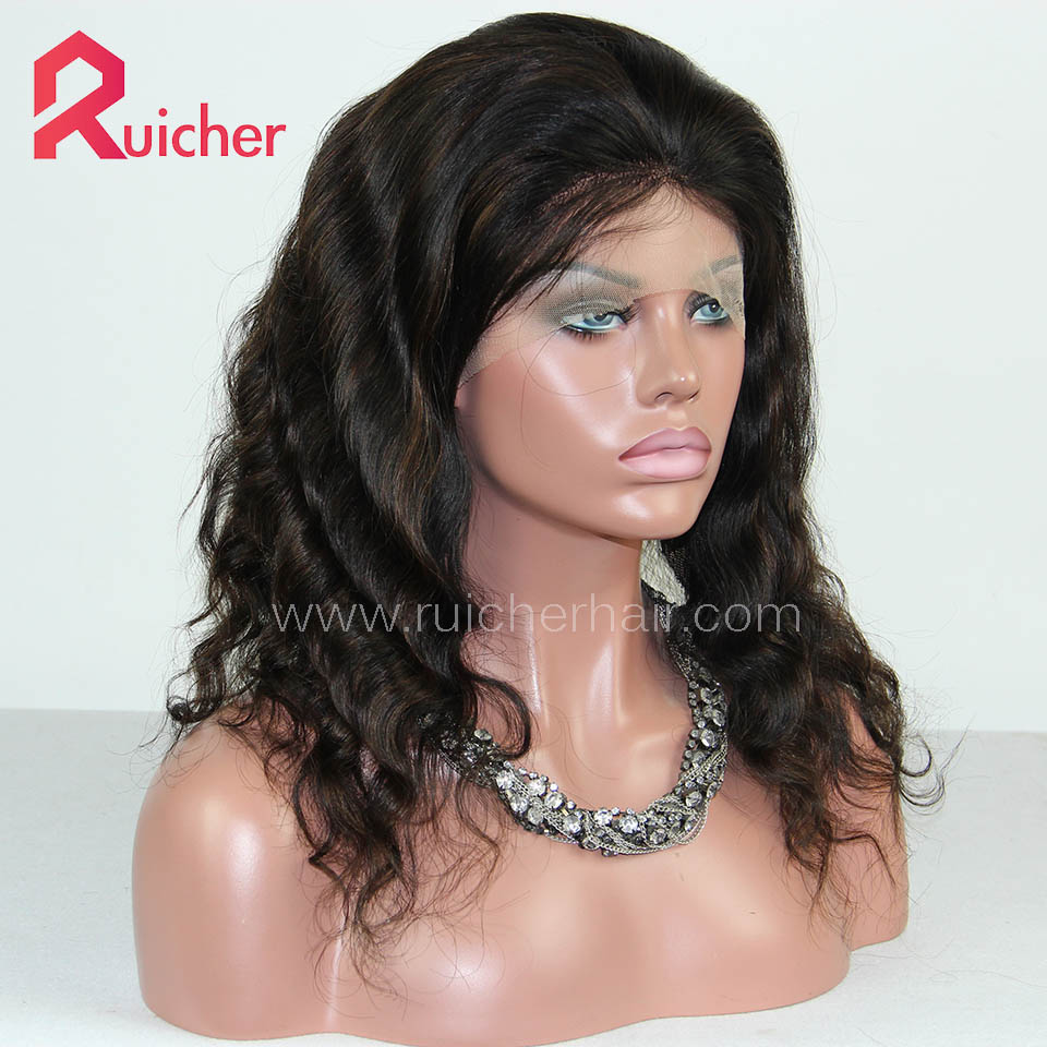 Mongolian Virgin Hair Full Lace Wigs Natural Wave Highlight Color