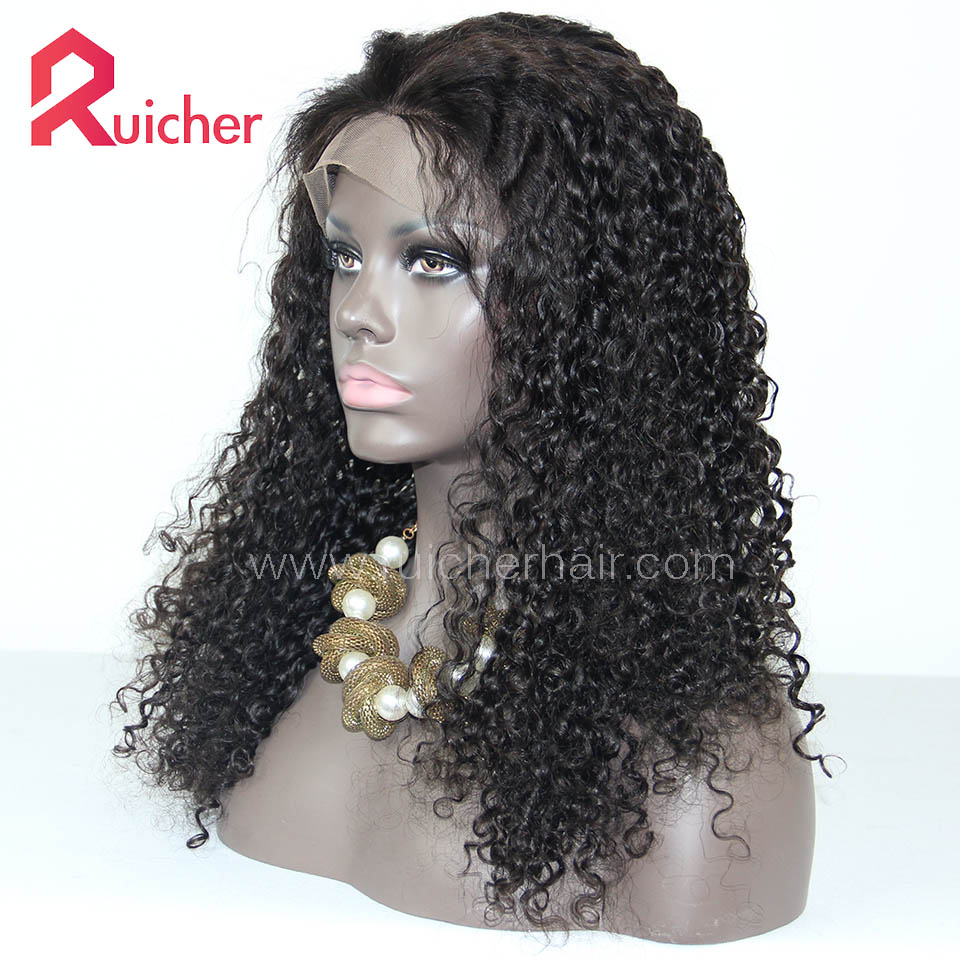 Peruvian Virgin Hair Full Lace Wigs Water Wave Natural Color