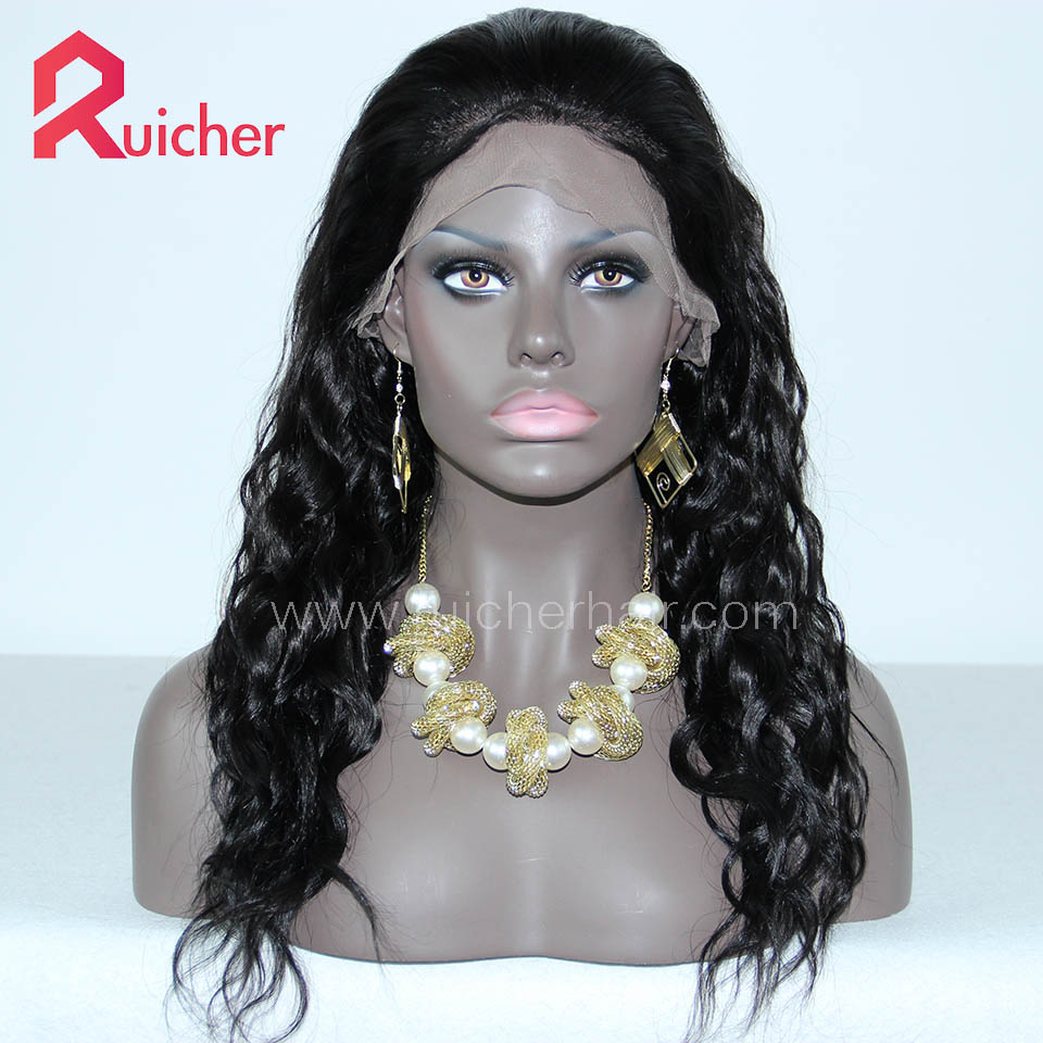 Mongolian Virgin Hair Full Lace Wigs 1B# Natural Wave Free Shipping