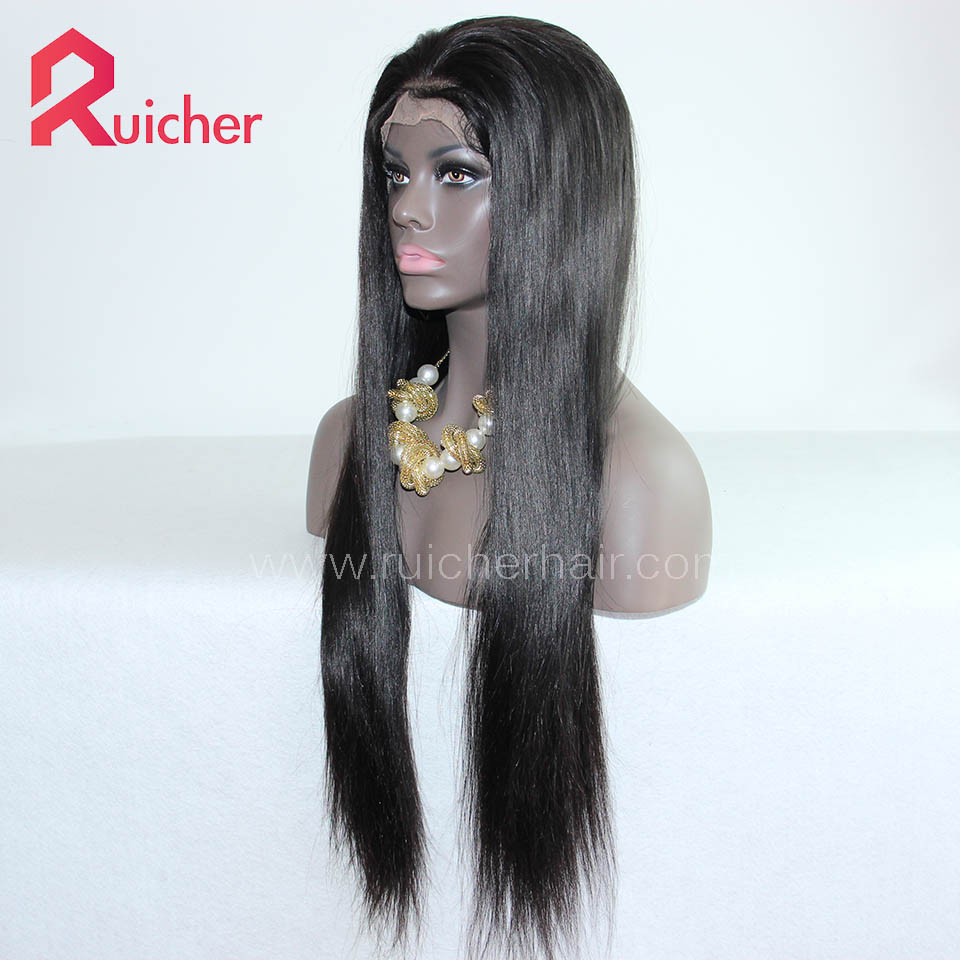 Chinese Virgin Hair Full Lace Wigs Natural Straight 1B# Color