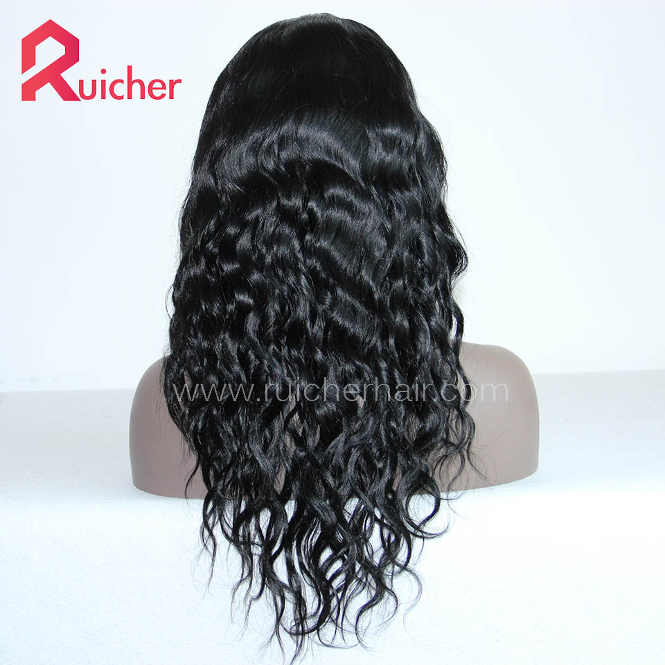 Chinese Virgin Hair Full Lace Wigs Natural Wave 1# Color
