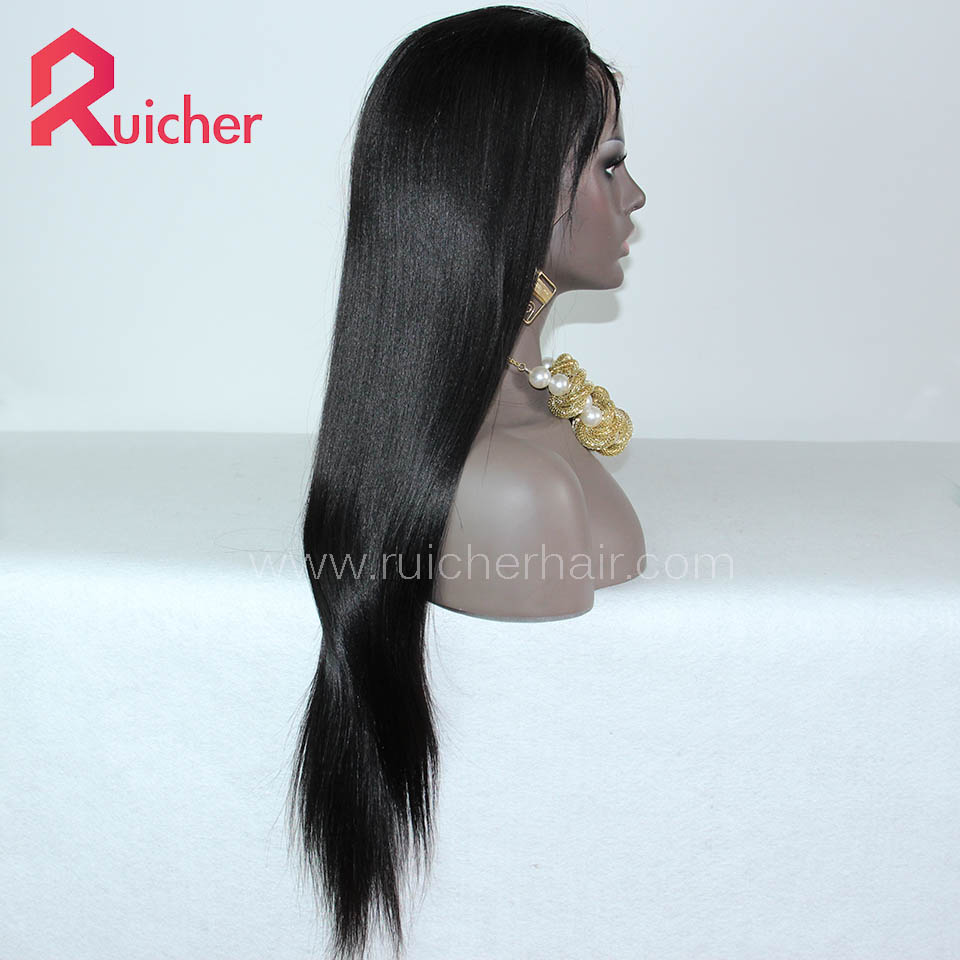 Chinese Virgin Hair Full Lace Wigs Yaki 1B# Color