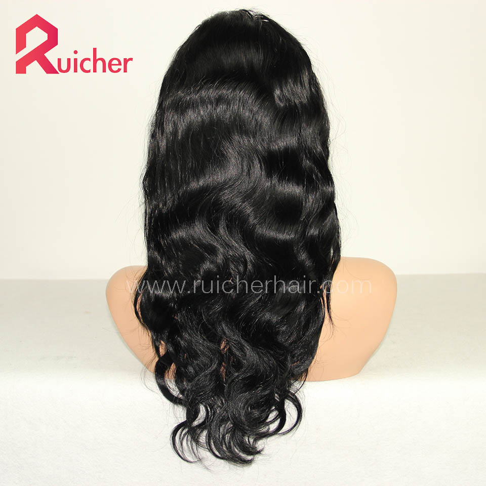 Peruvian Virgin Hair Full Lace Wigs Body Wave 1# Color