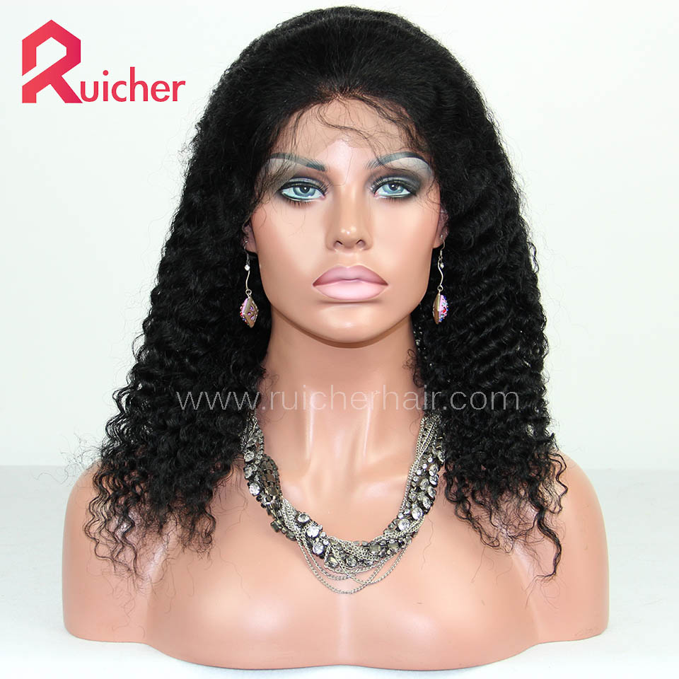 malaysian Virgin Hair Full Lace Wigs Deep Wave Free Shipping