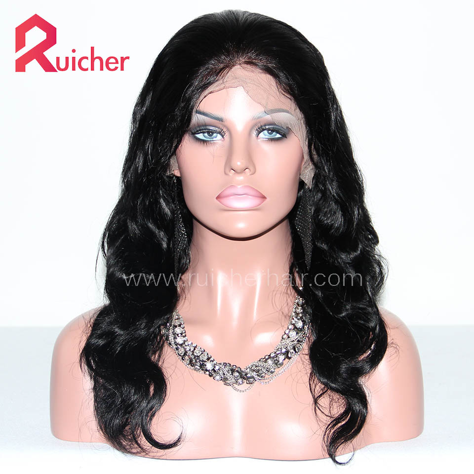 Chinese Virgin Hair Full Lace Wigs 1B# Color BodyWave
