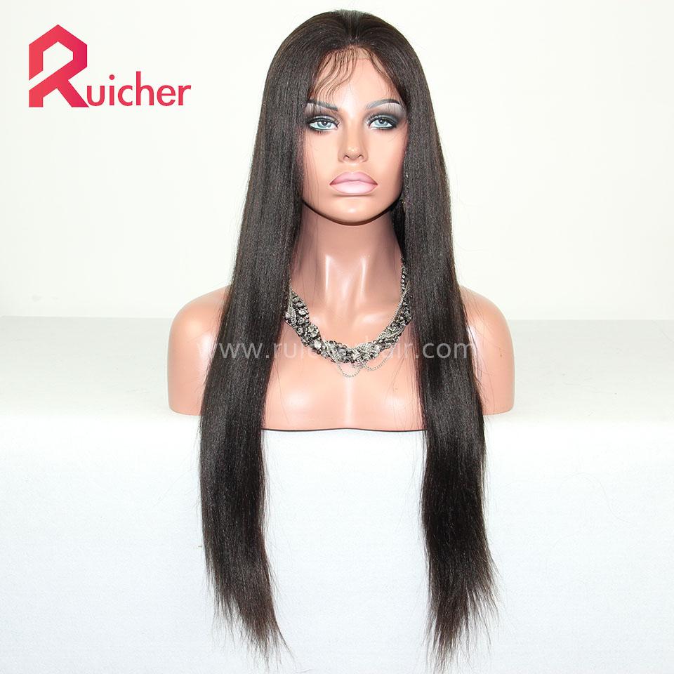 Yaki Full Lace Wig Pre Plucked Brazilian Virgin Silky Yaki Human Hair