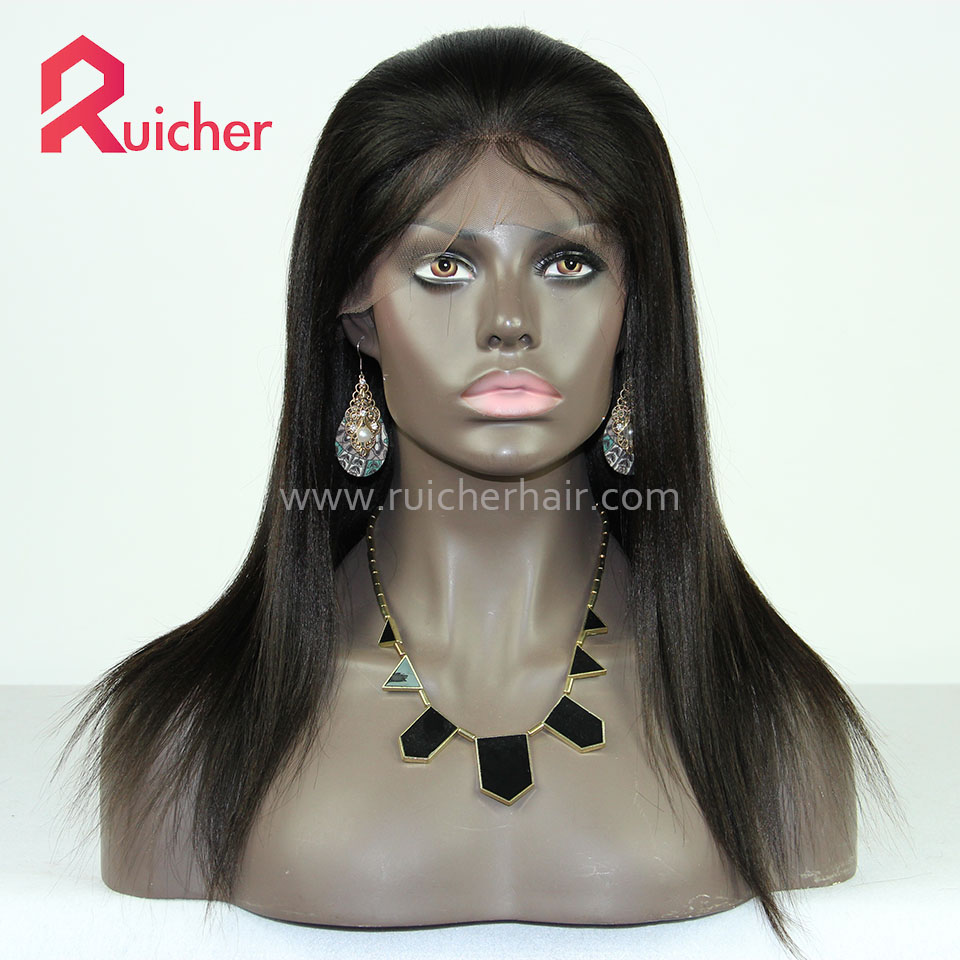 Brazilian Virgin Yaki Full Lace Wig For Black Women Human Hair Wigs