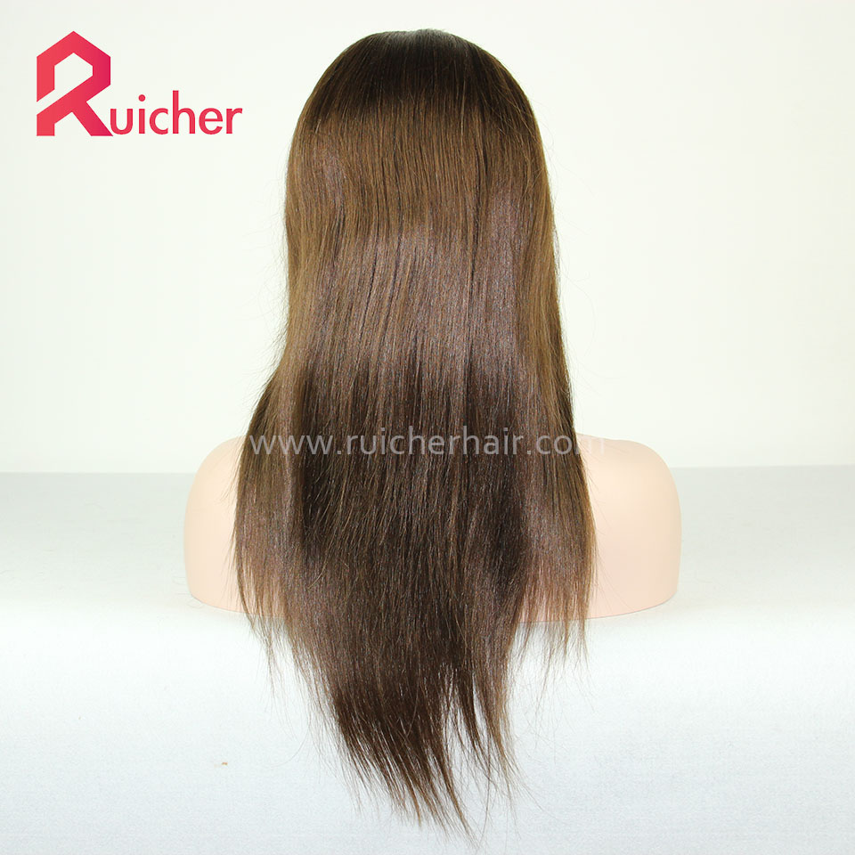 Brown Color Brazilian Virgin Lace Wig Human Hair with Baby Hair