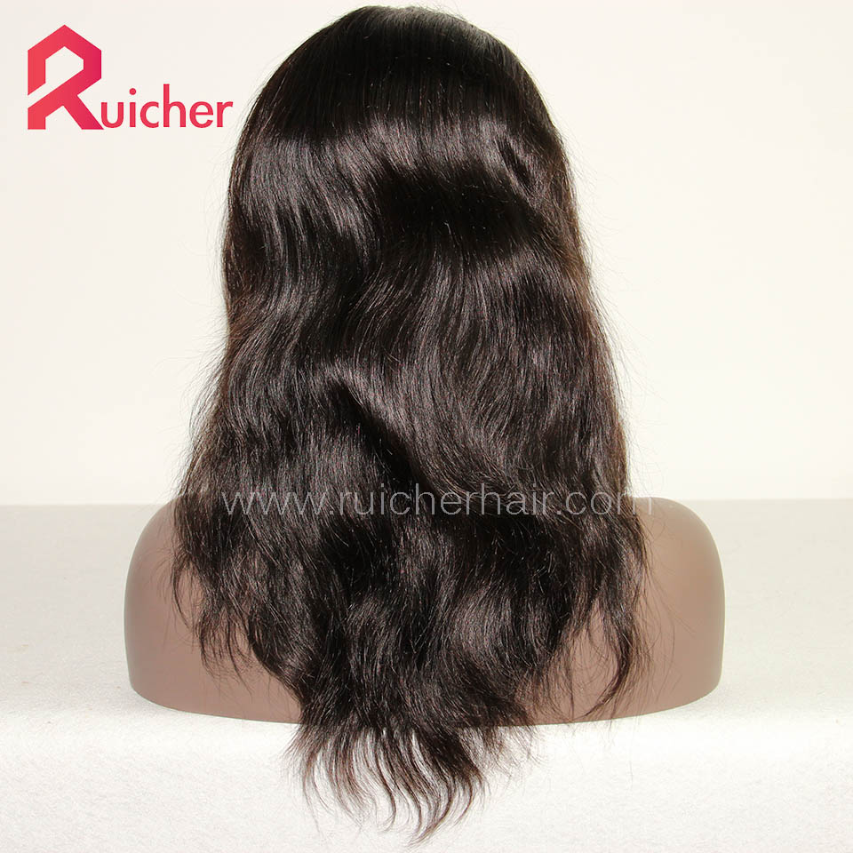 Lace Front Wigs Indian Remy Hair Natural Straight Natural Color