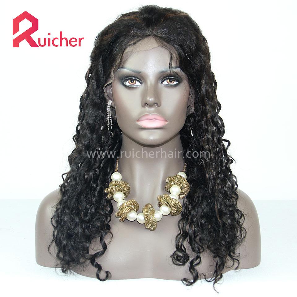 Ruicher 18mm Curly Human Hair Wigs 1B# Highlight 30# Brazilian virgin Lace Wigs