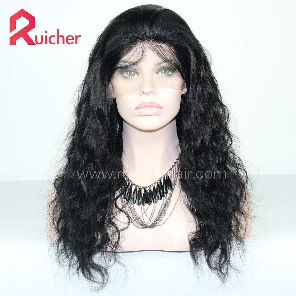 Brazilian Virgin Hair Lace Front Wig Natural Straight 1# Color For Black Women