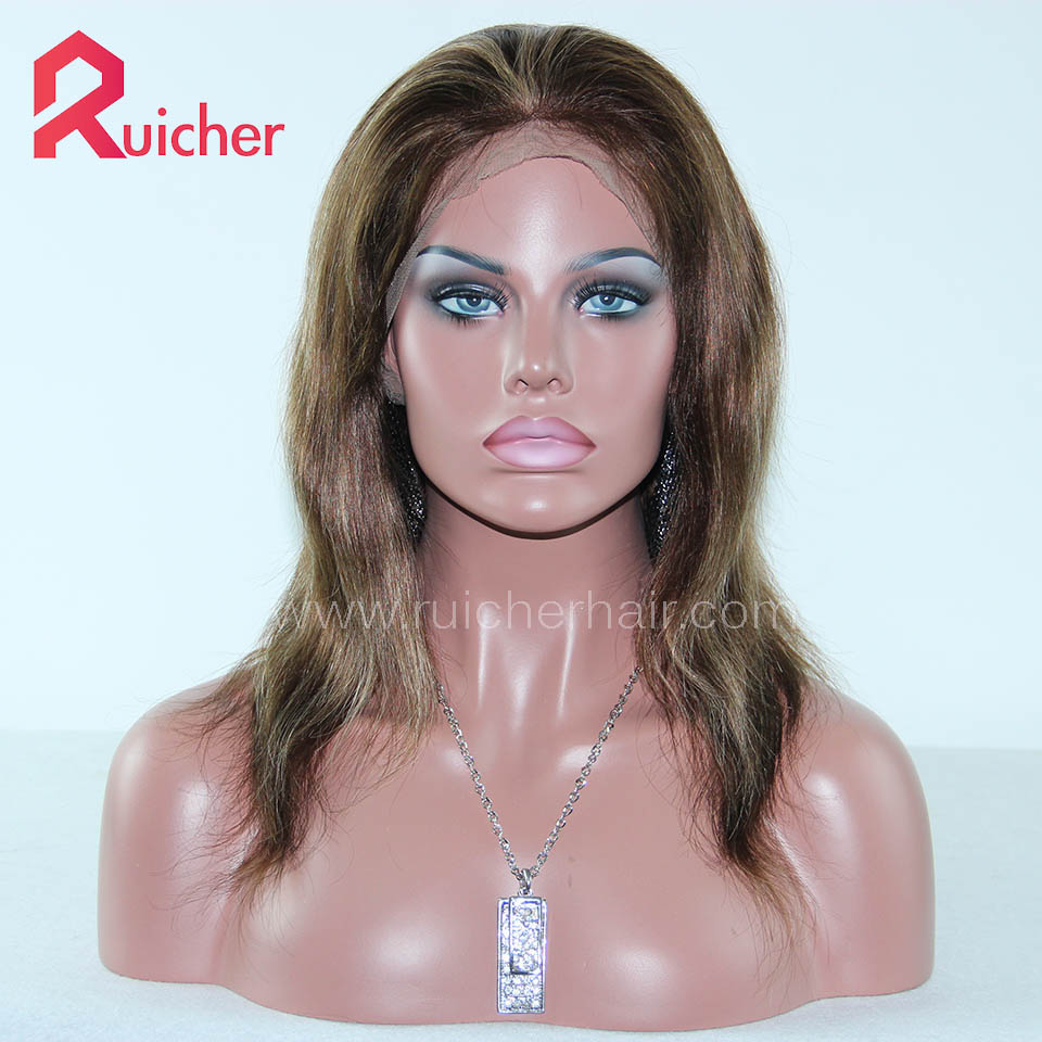 Lace Front Wigs Human Hair Indian Remy Hair 4# highlight 27# color