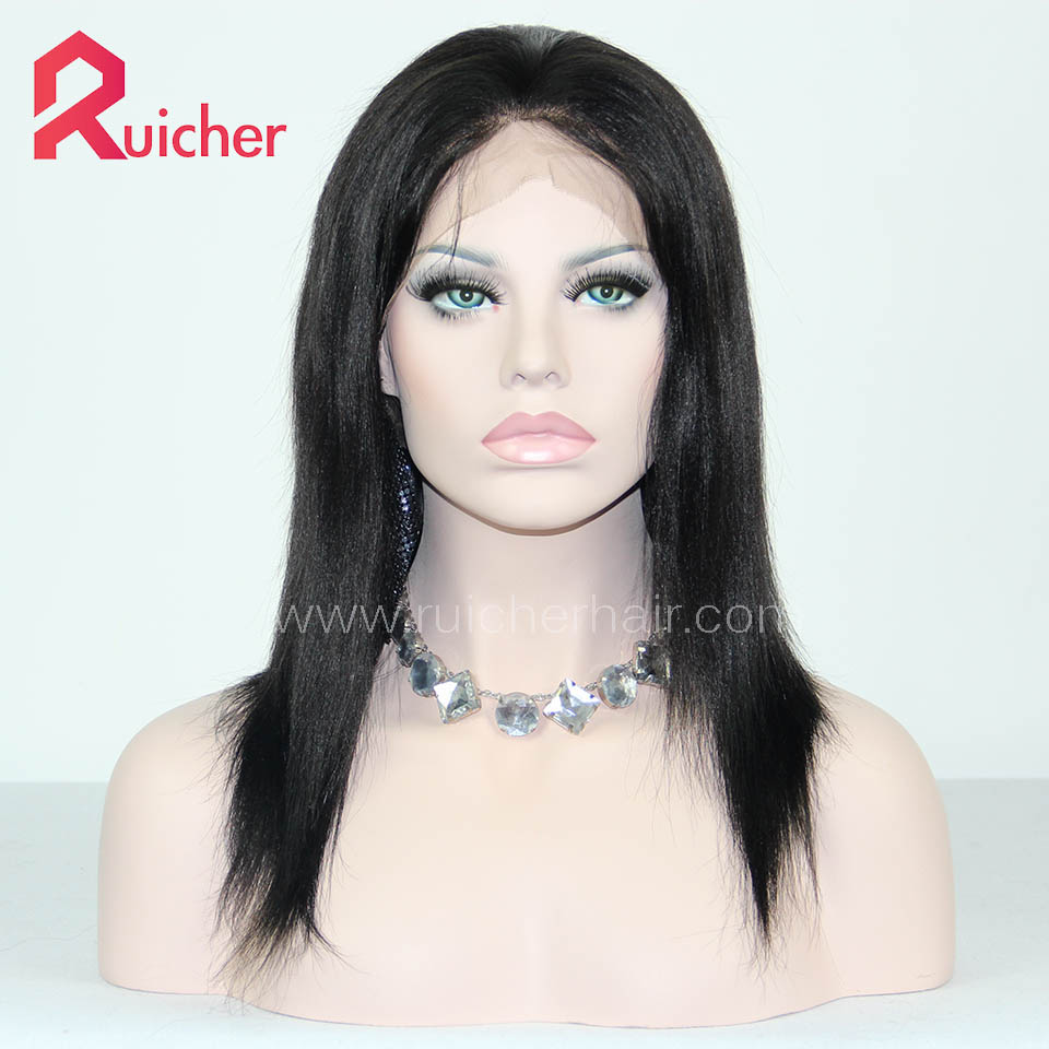 Free Shipping Yaki 1B# Lace Human Hair Wigs With Pre Plucked Baby Hair Indian Remy Hair