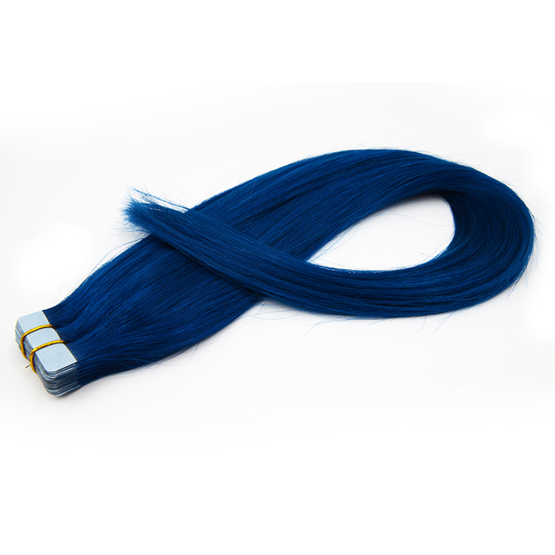 No Shedding Virgin Human Hair Tape In Hair Extensions #Blue