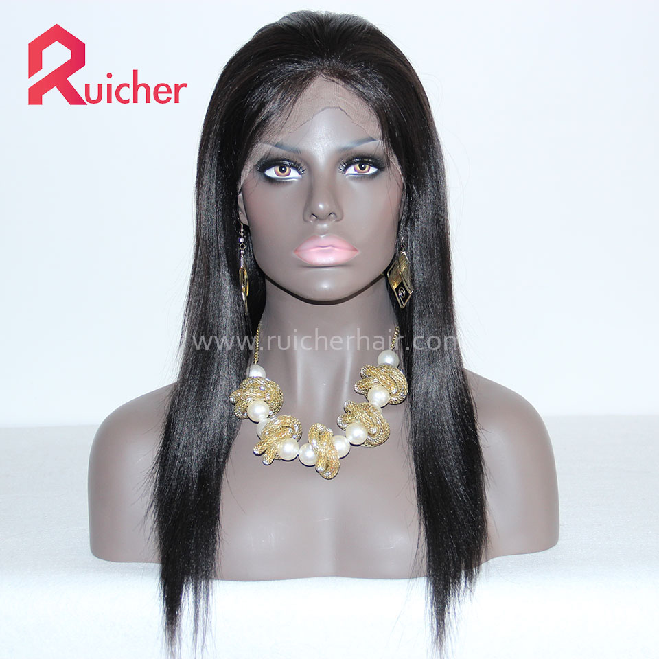 Full Lace Wigs Human Hair Wigs Yaki 1B# Color Brazilian Virgin Wig With Baby Hairs