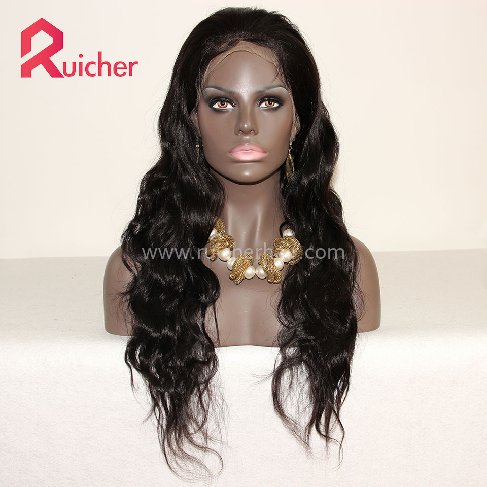 Full Lace Human Hair Wigs 1B# Natural Straight For Black Women Brazilian Remy