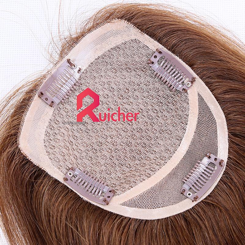 Silk Base+PU Lace Virgin human hair extension Clip in Women Topper
