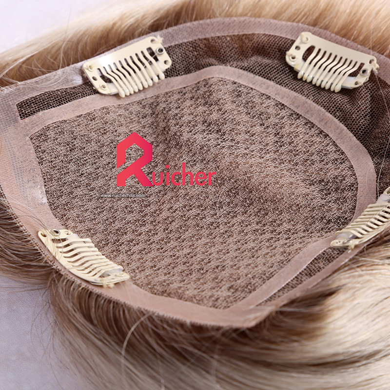 T9/white color  human hair extension Clip in Women Topper silk base