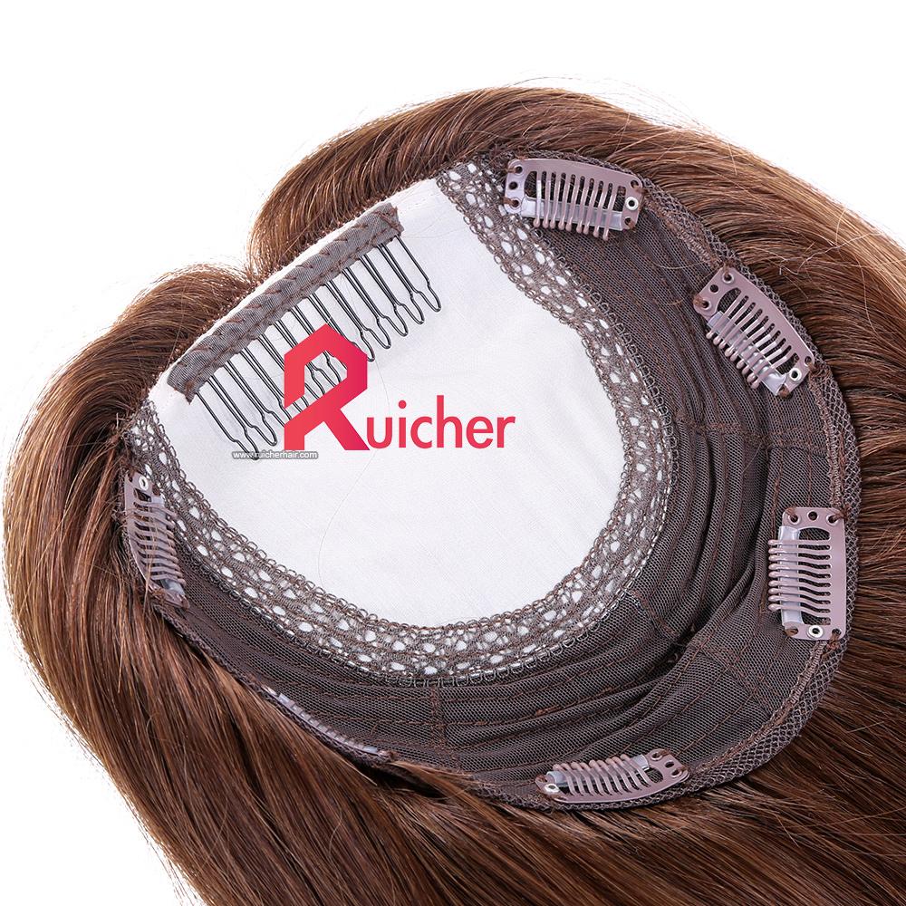 Silk base European Virgin human hair extension Clip in Women Topper hair