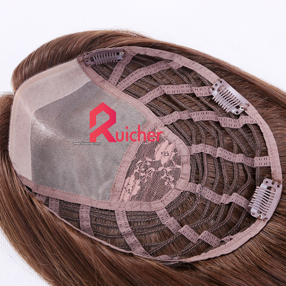 Virgin human hair wefts extension Clip in Women Topper mono