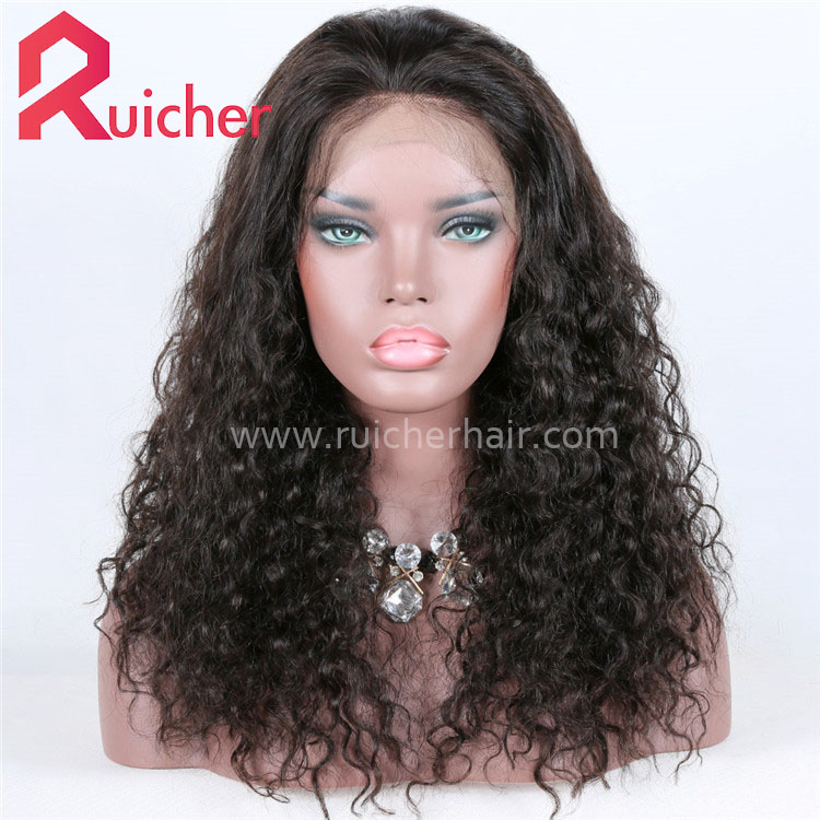 wholesale virgin human hair wig natural black 360 lace frontal wig with good quality factory supply