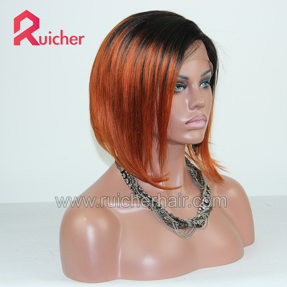 European Virgin Hair Wigs Full Lace Wig left part bob style ombre color dark root orange end