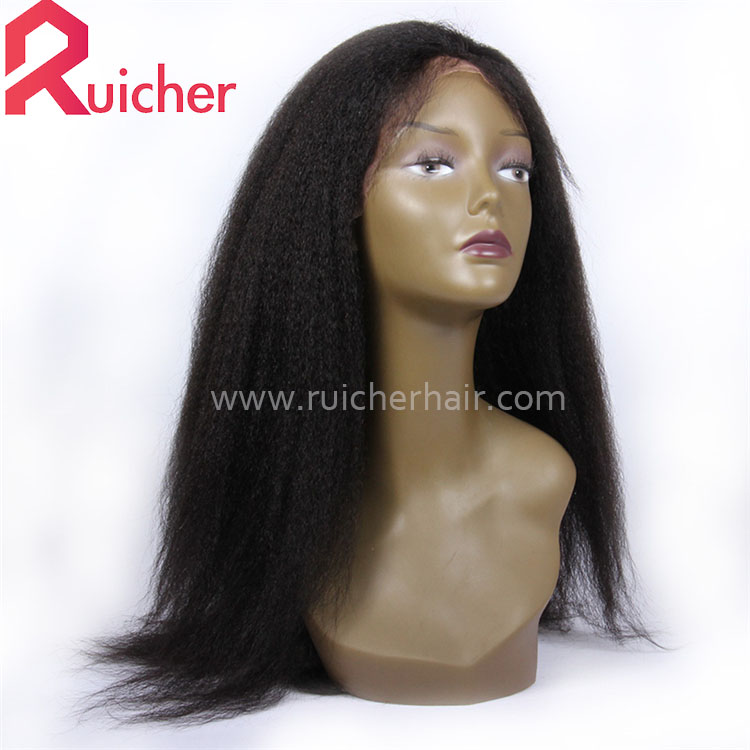Kinky Straight Pre Plucked Hairline Baby Hair 150% virgin Human Hair 360Lace Front Wigs