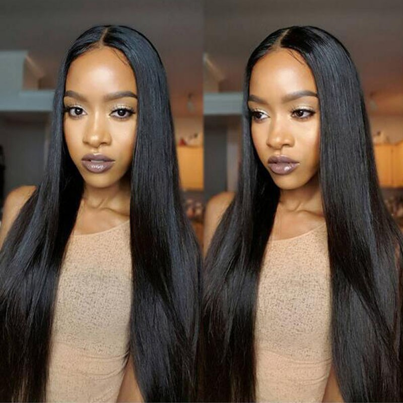 Full Lace Wig With Baby Hair Human Hair Brazilian Virgin Wigs 1# Color