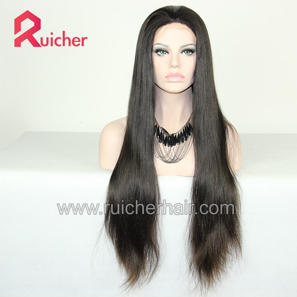 European Virgin Lace Human Hair Wigs Remy Human Hair With Baby Hair Natural Color for Black Women