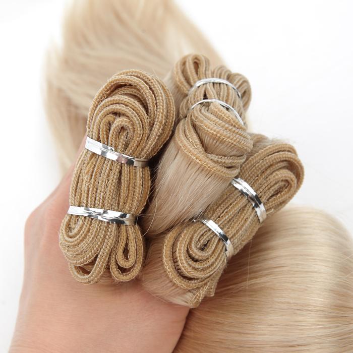 white color european virgin hair weft