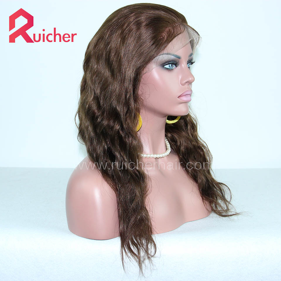 Chinese Virgin Hair Full Lace Wigs Natural Wave 4# Color